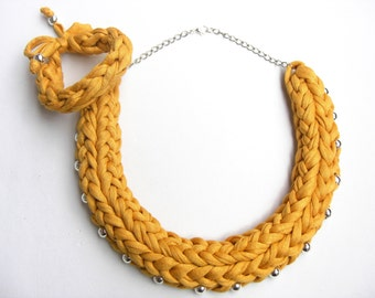Mustard Cotton Knitted Necklace, Mustard Tshirt Yarn Necklace, Mustard Statement Necklace, Ochre Braided Necklace, Yellow Statement Necklace