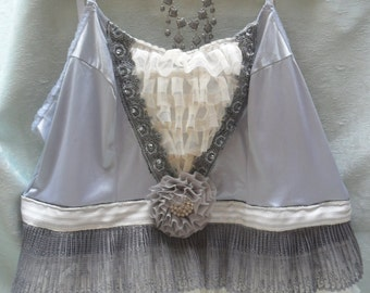 50% OFF TUNIC Top Tank Cami Boho Romantic Altered Clothing Fairylike - Tunic - Gray and Ivory