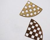 20 brass die cut charm in fan shape withchecker patetrn 25 x 25 x 36mm