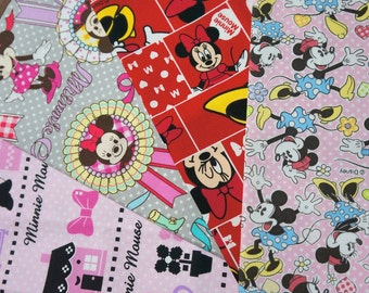 Disney fabric scrap  Minnie Mouse  print 25 cm by 25 cm or 9.6 by 9.6 inches each piece 2015Cf