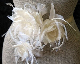 Ivory triple rose pin and single black silk feathered rose clip - bridal belt  - silk rose belt