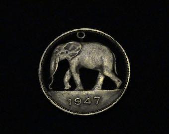 CONGO - cut coin pendant -  African Elephant - 1947 - RARE