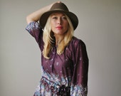 1970s Plum Jerrie Lurie Day Dress~Size Medium to Large