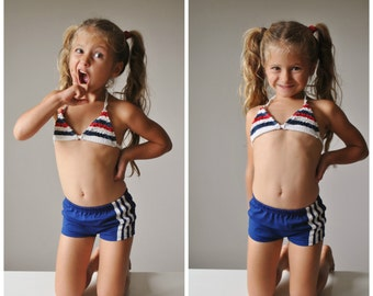 Deadstock, 1970s Navy Stripe Trunks~Size 2t/3t/4t