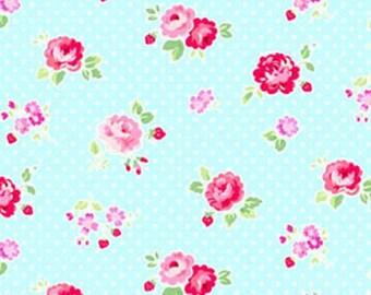 Fog City Kitty ~ Aqua Rose Dot - Gorgeous fabric ~ 100% woven cotton by the yard