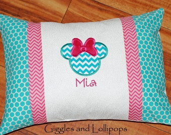 Minnie Mickey Disney cruise autograph travel pillowcase