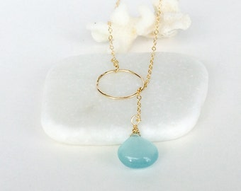 Gold Filled Eternity Lariat with Blue Chalcedony Accent