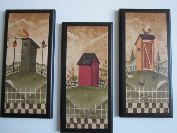 Country Bathroom Decor: Outhouses For Country Bath Cat & Rooster Rustic Lodge Wall