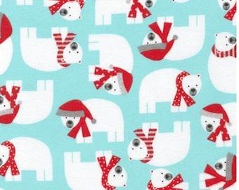 Ann Kelle Fabric Christmas Polar Bear in Aqua Robert Kaufman - One Yard - 1 Yard