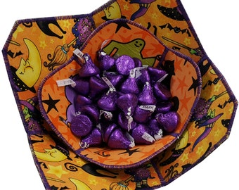 Halloween Reversible Fabric Bowls Set of Two