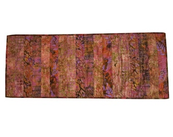 Quilted Table Runner in Mauve and Pink Batik