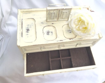 Large SHABBY Chic Jewelry Box Antique White Distressed Vintage Wooden Jewelry Box With Red Velvet Lining