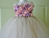 Flower girl dress, Champagne Dress, Champagne tutu dress, Lavender and Pink Flowers, flower top, hydrangea top, toddler tutu dress