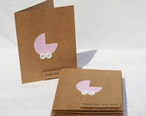 Baby Shower Thank You Cards - Baby Girl Thank You Cards - Kraft Thank You Cards - Thank you Cards - Pink Thank You Cards - 10
