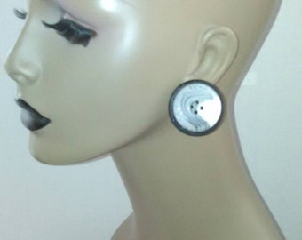White Button and Black Wooden Earrings, Womens Earrings, Handmade Earrings, Post Earrings, Button Earrings,