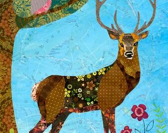 Deer Art - Deer Painting - Deer Decor - Deer Wall Art - Wooden Art Block Print - Deer Nursery Decor - Deer Nursery Art - Deer Home Decor