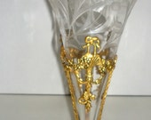 Antique Engraved Clear Glass Trmpet Epergene in a Gilt Metal Stand