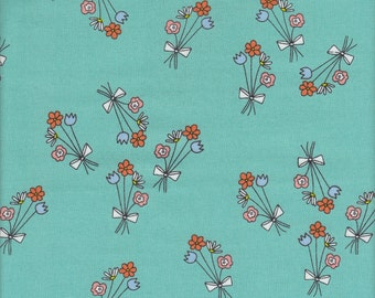 Andover Fabrics Just For Fun Flowers in Teal - Half Yard