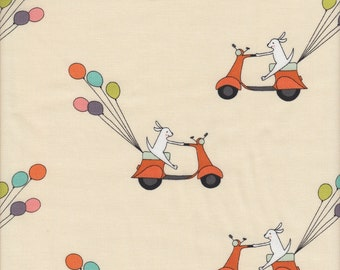 Andover Fabrics Just For Fun Scooter and Balloons in Cream - Half Yard