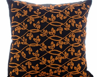 """Handmade Brown Throw Pillows Cover, 16""""x16"""" Silk Pillow Covers, Square  Orange Leaves Garden Pillows Cover - Maple Leaf"""