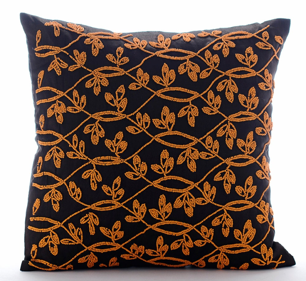Throw Pillows Horchow : Handmade Brown Throw Pillows Cover 16x16 Silk