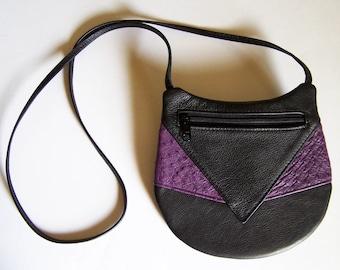 Black Leather Purse with Purple Ostrich Accent - Crossbody Style Festival Bag - Medium Round Handbag