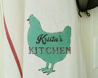 Personalized Rooster Tea Towel, Rooster Kitchen Towel with name,