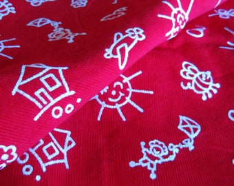 Vintage Fabric FLOCKED Corduroy Red Thin Wale Corduroy with Whte Flocked Children's Drawings Dogs Sun Bumble Bees