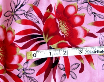 1950s 1960s Vintage Tropical Border Print Fabric Sanforized Cotton in Pink with Red and Metallic Gold Flowers