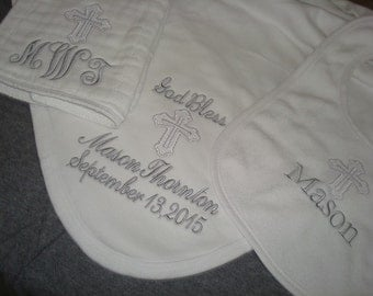 Mason Personalized Baptism Blanket Bib and Burp Cloth christening Gift Set  - Choice of Name and/or upto 3 Initials