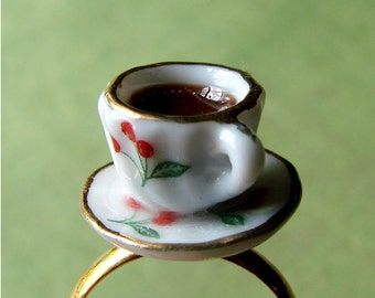 Miniature Teacup Adjustable Ring - Tiny Cherry Tea Cup