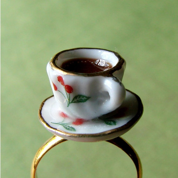 Miniature Teacup Adjustable Ring - Tiny Cherry Tea Cup