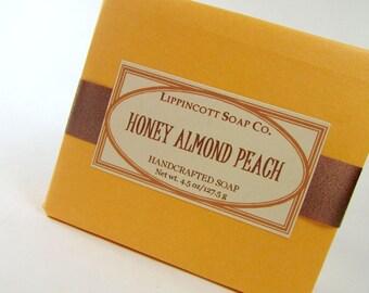 Honey Almond Peach Soap, Cold Process Soap, Handmade Soap, Bar Soap, Phthalate Free Fragrance