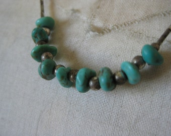 Turquoise Sterling Necklace Vintage Silver 925 Bead