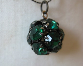 Green Rhinestone Ball Necklace Bronze Pendant Vintage