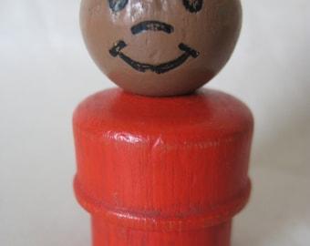 Boy Brown Black Red Little People Fisher Price Wood Toy Vintage