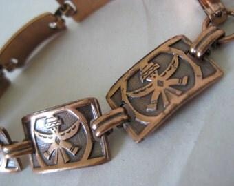 Birdman Native American Copper Bracelet Link Southwest Vintage