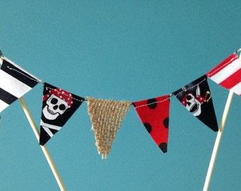 Cake Topper -Pirate theme -Cake Bunting -mini fabric bunting -1st Birthday -Baby Shower -flag banner -pie bunting  Wedding cake bunting