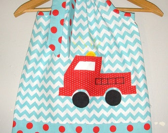 dress Fire truck dress chevron fire truck dress fire fighter  dress 3,6,9,12,18 month 2t,3t,4t,5t,6.7.8