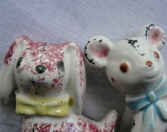 Two vintage small animal figurines Look like stuffed toys