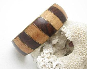 Vintage Wood Bangle Bracelet Two Toned Striped Boho Jewelry B6763