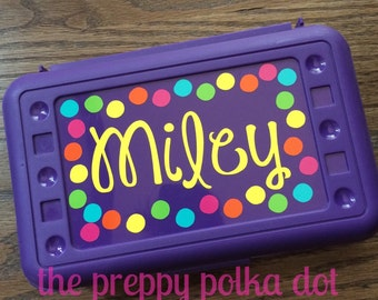 Personalized Polka Dot Pencil Box - Custom - Monogram- Glitter