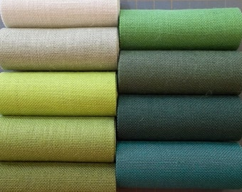 10 inch GREEN Burlap ribbon x 3 yards - 11 shades available