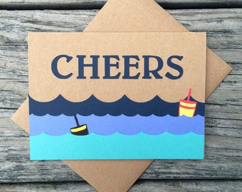 Cheers, Just a Hello, Thinking of You, Just Because, Waves and Buoys Kraft Greeting Card