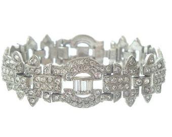 Antique Art Deco Bracelet, Wide Rhinestone Cuff, Vintage Original 1920 Art Deco Jewelry, Crystal Wedding Jewelry