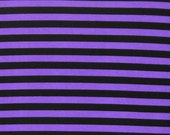 "Purple black stripes 1/2"" 1 yard cotton spandex jersey"