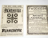 2 Antique Ads Mounted on Chipboard - Parlor Games and Artists' Materials - Parcheesi, Planchette