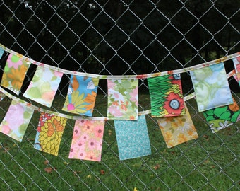 Banner Fabric Bunting Happy Flags Pennants Vintage Cloth 7 Feet Long