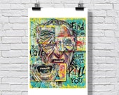 """Poster Print 8 x 10"""" or 12 x 18"""" - Charles Bukowski - Poetry Writing Books Hollywood Los Angeles Sex Alcohol Lowbrow Art"""