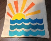 Retro Sunset 3 Ocean Waves Felt Applique Pillow Cover 16 x 16 inches Modern Beach Coastal Surf